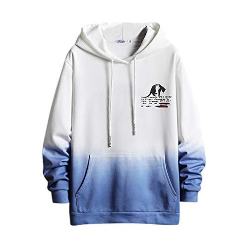 Crazboy Herren Mode Mit Kapuze Allmählich Farbe Lange Ärmel Bewachen Groß Hut Bewachen Sweatshirt(Medium,Weiß)