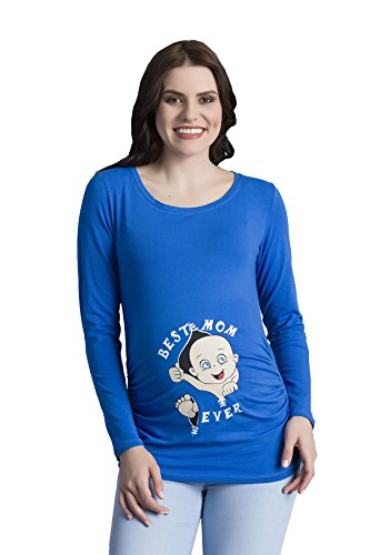 Daisy Langarm-shirt (Best Mom Ever - Witzige Süße Umstandsmode T-Shirt mit Motiv Schwangerschaft, Langarm (Medium, Dunkelblau))