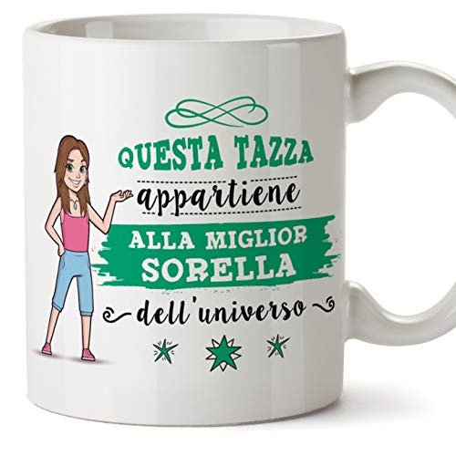 Mugffins sorella tazze originali di caffè e colazione da regalare sorelle - questa tazza appartiene alla miglior sorella dell'universo - ceramica 350 ml