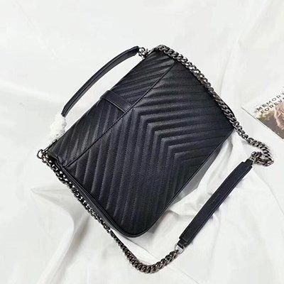 AASSDDFF Mode Kleine Flap Bag Crossbody Taschen Frauen Luxus Gesteppte Plaid Ketten Schulter Handtasche Berühmte Marke Design Lady Messenger Bag, Schwarz, 32cm