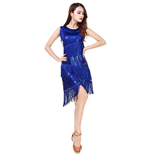 Wingbind Pailletten Quasten Frauen Latin Dance Kleid Latin Zoll Leistung Tanzkleid