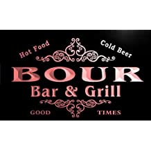 u04871-r BOUR Family Name Bar & Grill Cold Beer Neon Light Sign Enseigne Lumineuse