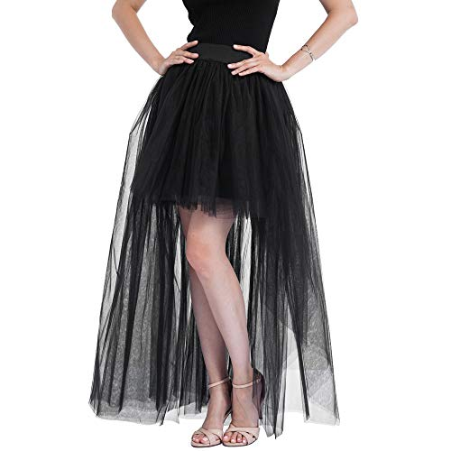 Malloom Damen Vintage Prinzessin pfau Kleid Steam Punk Rock Gothic Chiffon Spitze Cocktail PartyFaschingFasching Kostüm Slip Schwarz Mesh Hohe Taille Frauen Lange Rock