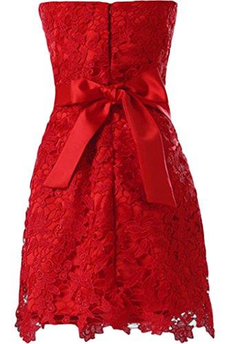 Sunvary Robe Courte Robe de Cocktail Robe de Soiree Robe de Bal Robe de Demoiselle d'honneur A-ligne en Dentelle Bustier Noeud Ceinture Mauve