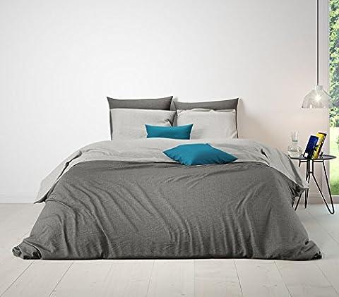 Aminata - hochwertige Wende-Bettwäsche uni 155x220 cm grau anthrazit Baumwolle Reißverschluss (155x220 /