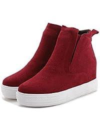 NSXZ Moda femenina Scrub botas de cuero genuino corto , red , 35