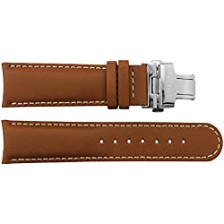 Watch Strap in Brown Calf leather - 22 - - buckle in Silver stainless steel - B22010