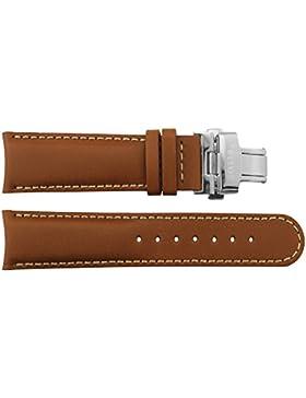 Armbanduhr lederarmband in Braun Kalb Leder - 22 - - Schnalle in Silber Edelstahl - B22010