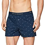 Emporio Armani Underwear Herren Boxershorts Men's Woven Boxer, Blau (Marine Stampato Aquile 55335), Medium