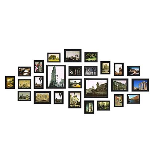 Yorbay Conjunto de Marcos de Fotos de Madera para 26 Fotos montado en la Pared (Negro)