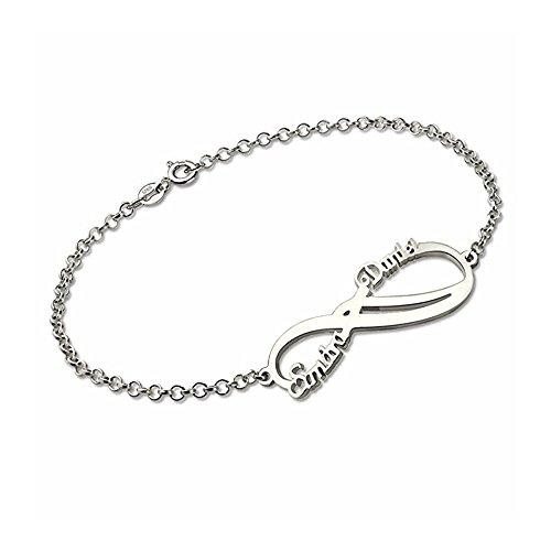 Maßgeschneiderte Paar Armband graviert mit 2 Namen oder Datum-zierliche Name Armband aus 925 Sterling Silber für Freundin Frau Mutter her (Armbänder Mit Namen Graviert)
