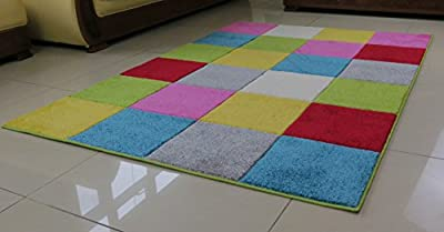 Kids Multi-Coloured Checkered Rug-Yellow,Grey,Red,Pink,Green,Blue and White - cheap UK light store.