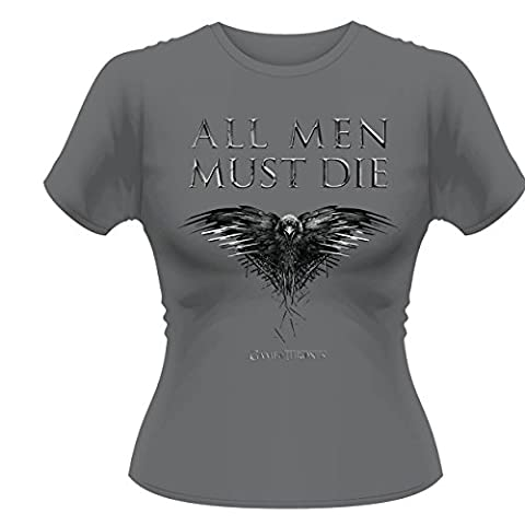 Plastic Head - Game Of Thrones All Men Must Die GTS - T-shirt Femme, gris (Grey), Size 8 (Taille fabricant:Small)