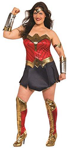 Generique - Wonder Woman-Damenkostüm Deluxe Übergröße Lizenzkostüm rot-blau-Gold - Übergröße Wonder Woman Kostüm