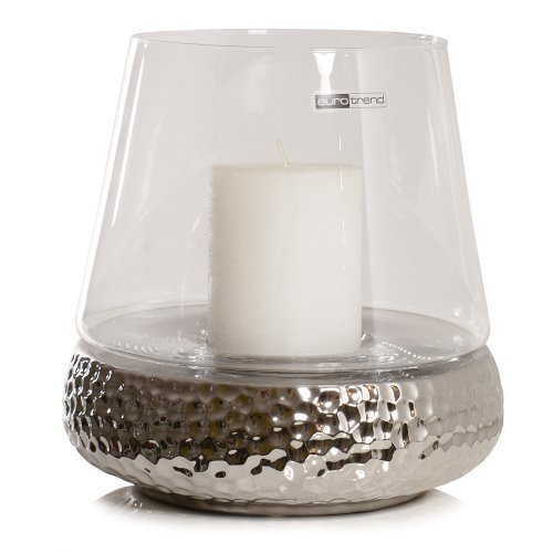 Windlicht BILBAO Glas Keramik silber Golf-Optik Design Kaheku *Gr.S H 21 cm (Große Keramik Vasen)