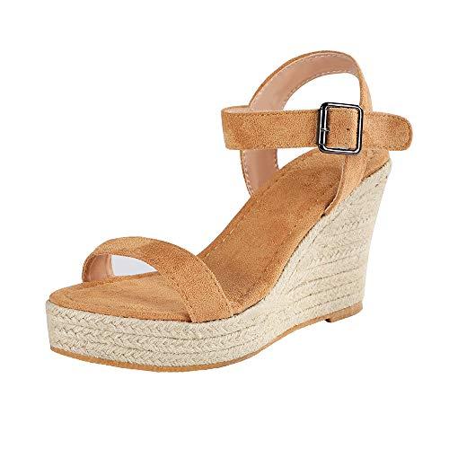 Sfit Damen Sandalen Sommer Elegant Keilabsatz Mode Plattform Strandschuhe Boho Schuhe Frauen Peep Toe Sandaletten Kork Plateau Offene Schuhe Blockabsatz Sandal -