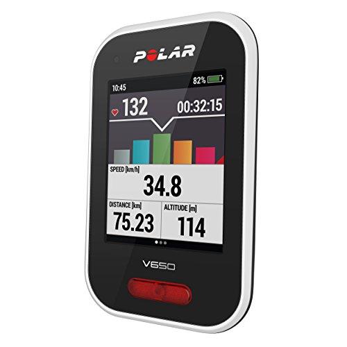 Polar V650 - Ciclocomputador con GPS. Mapas y seguimiento de rutas - Strava live segments - Luz frontal - Compatible con potenciometros BT