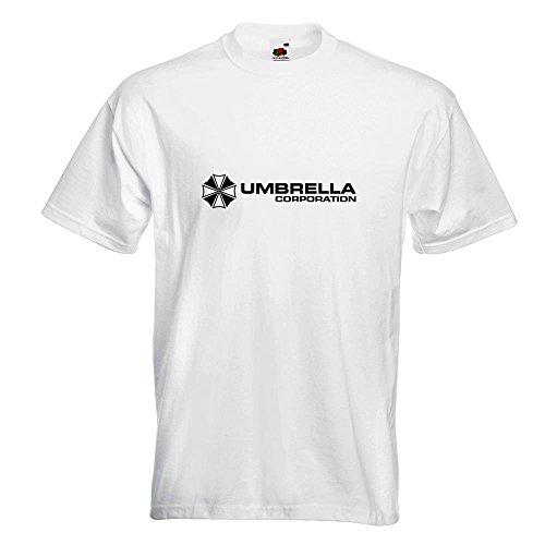 KIWISTAR - Umbrella Corperation T-Shirt in 15 verschiedenen Farben - Herren Funshirt bedruckt Design Sprüche Spruch Motive Oberteil Baumwolle Print Größe S M L XL XXL Weiß
