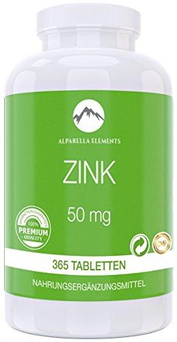 Alparella Elements – Zink 50mg | Family-Pack 365 vegane Tabletten hochdosiert | MADE IN GERMANY | 100% GELD-ZURÜCK-GARANTIE