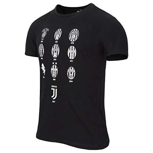 Juventus T-Shirt con Loghi Storici - Nera - Originale - Uomo -Taglia L