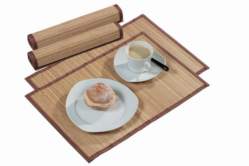 Platzset 2er-Set, hell, Platzdecken, Unterleger, aus Bambus, Maße: 445 x 300 mm, braun/natur