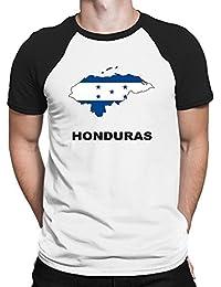 Teeburon Honduras Country Map Color Camiseta Raglan