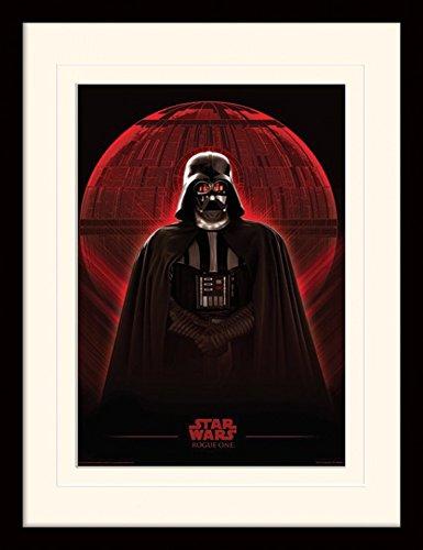 1art1 101469 Star Wars - Rogue One, Darth Vader & Death Star Gerahmtes Poster Für Fans Und Sammler 40 x 30 cm