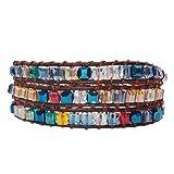 AMAYA Armband Frauen Buntes Wickelarmband Damen | Kristall- und Natursteine mit Lederband | Handgefertigter Modeschmuck | Länge verstellbar (Multi-Color Crystal)