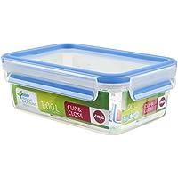 Emsa Clip&Close - Conservador Hermético de Plástico Rectangular de 1L, higiénico, no retiene olores ni sabores 100% libre de BPA