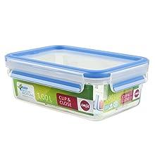 Emsa 508540 rettangolare contenitore di alimento con coperchio, 1.0 litri, trasparente / blu, Clip & Chiudi