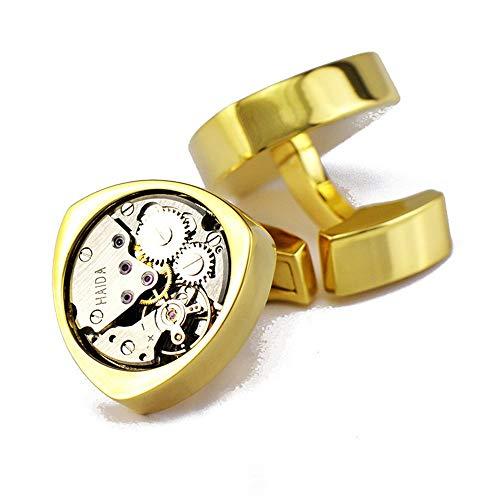 AdorabCufflinks Triángulo Movimiento Dorado Movimiento del Reloj Reloj mecánico Gemelos Gemelos.