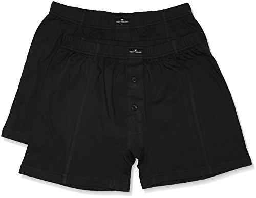 Tom Tailor Underwear Herren Retroshorts Shorts, 2er Pack, Einfarbig, Gr. Large (Herstellergröße: L/6), Schwarz (black 9000)