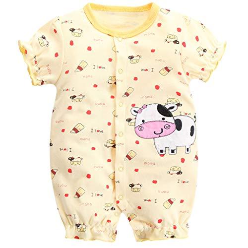 Jiaym bambino ragazze estate pagliaccetto manica corta tuta neonato pigiama in cotone tutina mucca 3-6 mesi