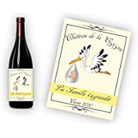 """Étiquette pour bouteille de vin ou de champagne - Annonce de grossesse originale -""""La Famille s'agrandit !"""""""