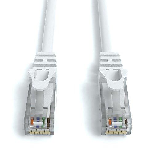 2m CAT.6 Netzwerkkabel (RJ45) Patchkabel Ethernet Lan in weiß  1Gbit/s   250MHz   kompatibel zu CAT.5 / CAT.5e / CAT.6   von JAMEGA