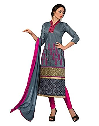 Cotton Grey Indian Bollywood Women Unstitched Salwar Kameez Suit Dress Material