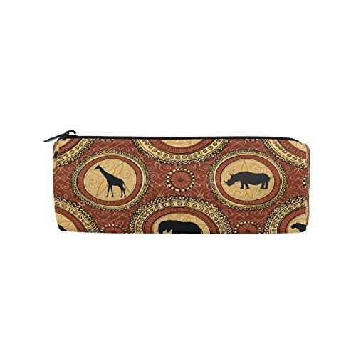 Isaoa Trousse ronde ethnique africain éléphant Portable Pen Sac pochette de rangement Sac à main porte-stylo Convient pour les enfants étudiant ou officier de voyage maquillage Sac