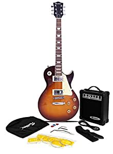 Rockburn LP2 Style Guitar Package with 10W Amp, Gig Bag, Strings,  Strap, Lead and Picks- Sunburst