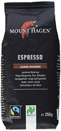 Mount Hagen Bio-Espresso ganze Bohne FairTrade, Naturland, 3er Pack (3 x 250 g) -