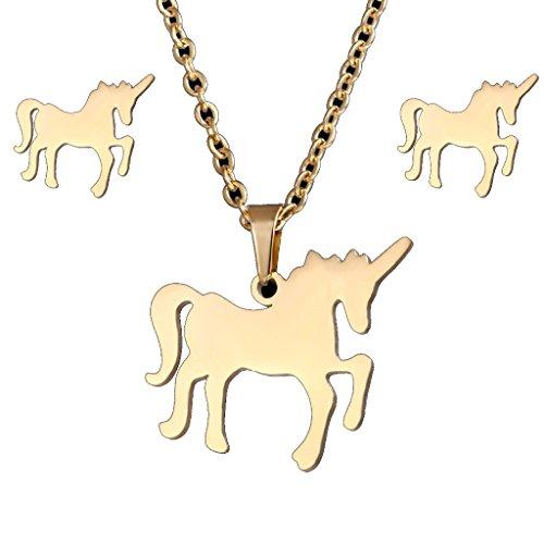 Lalia Einhorn Schmuckset, Halskette und Ohrringe, gold, super süß. Tolles Geschenk Set, 3 -teilig, Kinder, Geburtstag