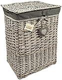 WoodLuv Medium Rectangular Laundry Linen Willow Wicker Basket with Lining, Grey