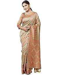 SareeShop Sarees Women's Beige Color Cotton Silk Jacquard Saree With Blouse # 591F9AC436A74972