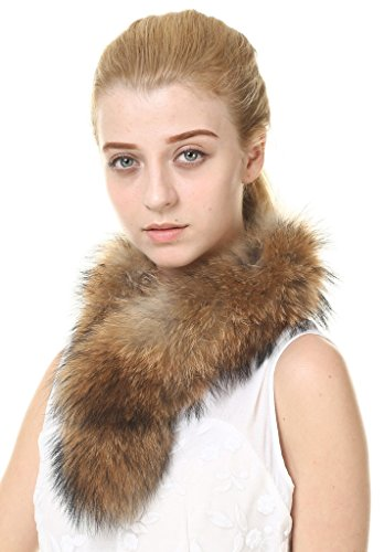 Vogueearth Damen'Echte Waschbär Pelz Winter Two Use Haube Trim Schal 75CM Natur Braun (Trim Pelz)