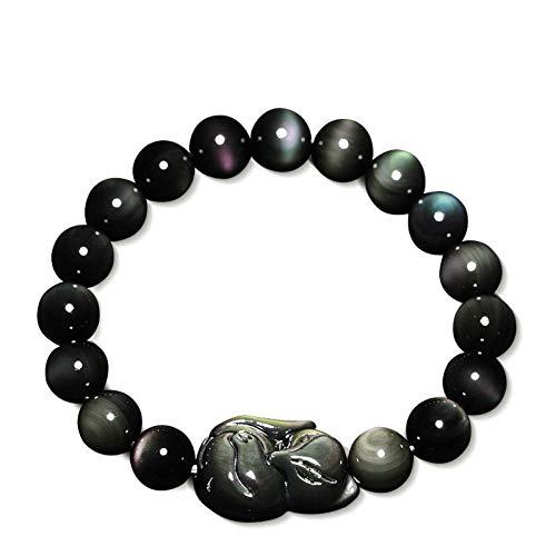 DUOJINZ Naturstein Obsidian Fox Runde Perlen Armband Rainbow Eye Foxhound Schmuck Armbänder Für Frauen Einzel Runde Hand String Armreif