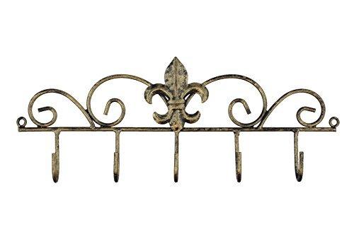 Old River Outdoors Dekorative Fleur de Lis Wand montiert Aufhänger aus Metall–5Haken–Schlüssel, Mützen, Handtücher, BBQ Oder Gartengeräte