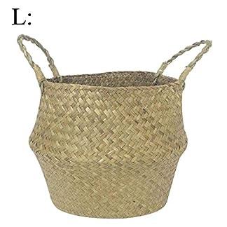 Multifuncional hecha a mano pajita Craft plegable cesta de almacenamiento bolsa de la compra para la ropa sucia frutas juguetes Nordic estilo de flor de ollas
