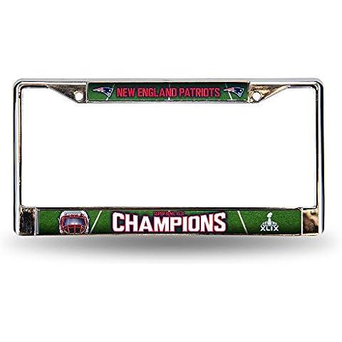 NFL New England Patriots Super Bowl XLIX Champion Chrome Frame, 12 by 6-Inch, Silver