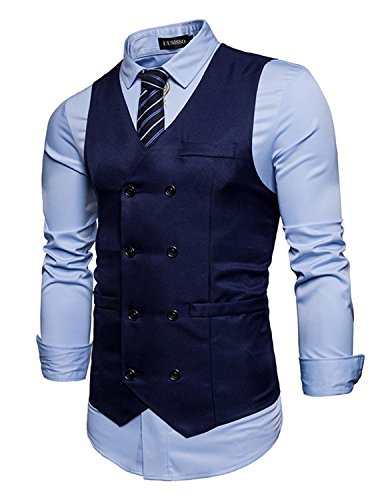 UUAISSO Herren Anzug Weste Doppelt Breasted Ärmellos Party Formal Geschäft Gentleman Tops,Navy blau,X-Large (Herren Anzug Breasted)