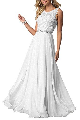 CLLA dress Damen Chiffon Spitze Abendkleider Elegant Brautkleid Lang Festkleid Ballkleider(Weiß,44)