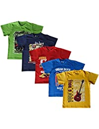 Elk Boy's Kids Round Neck Printed Half Sleeve Cotton Tshirt 5 Combo Pack